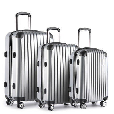 Silver 3pcs 20/24/28 inch Rolling Travel Luggage Set Suitcase Cases Carry-On Bag