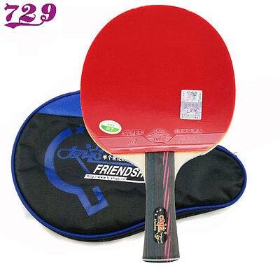 Friendship 729 3-Star Table Tennis Racket with Rubber + Bag Ping Pong Bat