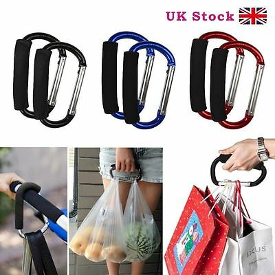 2X Pushchair Hook Clips Large Buggy Pram Shopping Bag Mummy Carry Carabiner New