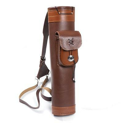 Cow Leather Quiver with Large Pouch Archery Arrow Handmade Straps Belt Bag Brown