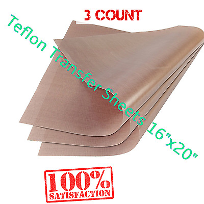 "3 pc Reusable Teflon Transfer Sheet 16x20"" Heat Press Craft Applique Ironing"