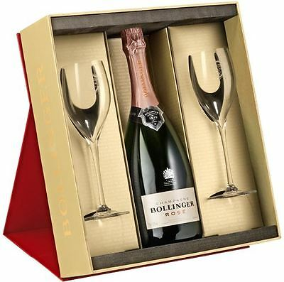 Bollinger Red Gift Box with Rose Champagne 75cl and Two Elizabeth Flutes