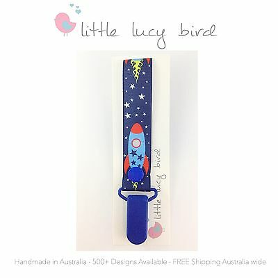 Rockets/ Space Hand Made Dummy/Pacifier Clip/ Chain (DC100038-3)