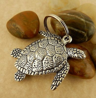 Sea Turtle double sided Pewter Keychain, key tag