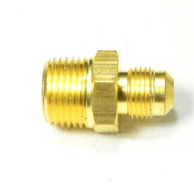3/8 Tube OD Sae 45 flare to 1/2 Male Npt Straight Connector Adapter Fitting Gas