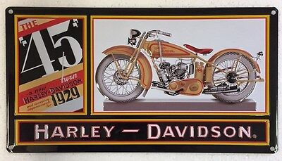 Ande Rooney HARLEY DAVIDSON 1929 45 TWIN HD Vintage Motorcycle Garage Tin Sign