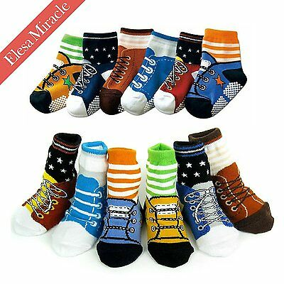 Elesa Miracle Non-skid Baby Boy Toddler Shoe Socks, 6 Pairs, Anti Slip, for 12 -