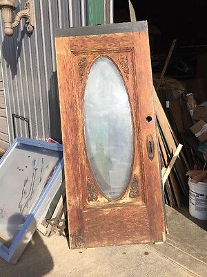 An 166 Antique Oval Gingerbread Oak Entrance Door 36 Inch By 80