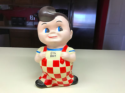 Bob's Big Boy Collectible Still Coin Money Piggy Bank Hard Vinyl Plastic