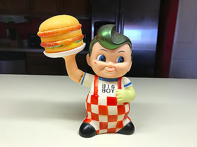 Bob's Big Boy Still Coin Money Piggy Bank Hard Vinyl Plastic W/Hamburger