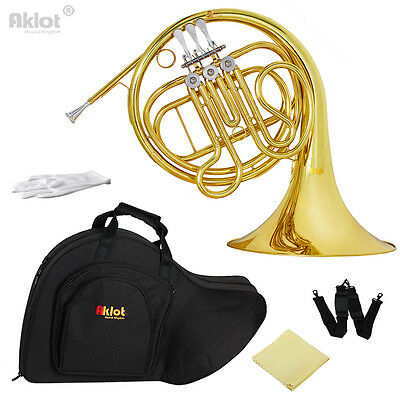 Aklot Intermediate F Single French Horn 3 Keys Gold with Silver Plate Mouthpiece