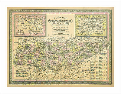 CANVAS print vintage map of tennessee 1850 (rare reproduction)