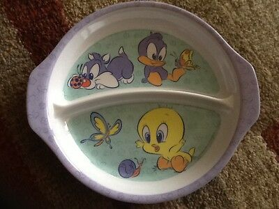 "Looney Tunes Baby Tweety Bird divided plate hard plastic 7"" diameter"