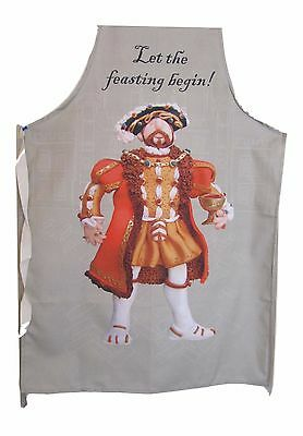 KING HENRY VIII Made in England apron - LET THE FEASTING BEGIN - cook chef BBQ