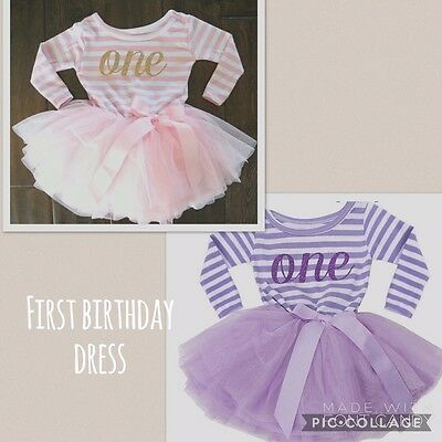 Baby Kids Girls First 1st Birthday Tutu Skirt Dress Outfit Cake Smash Party One