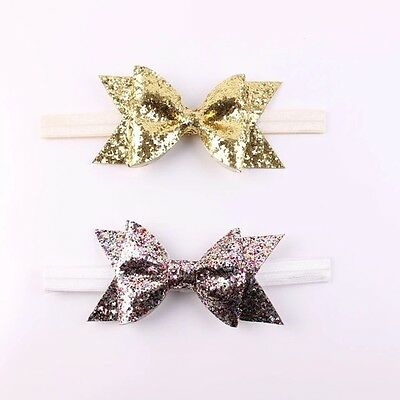 Baby Girls Gold Silver Glitter Large Bow Headband Hairband Party Boutique Gem