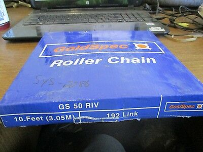"New Goldspec Roller Chain 10Ft 192 Links 5/8"" Pitch Gs 50 Riv"