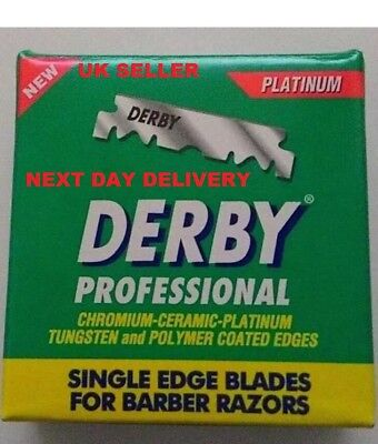 Derby Professional Single Edge Razor Blades Barber Straight Throat Cut Uk