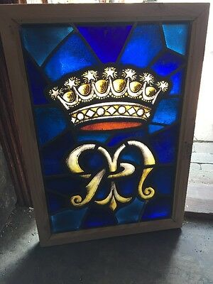 Sg 1207 Antique Painted And Fired Stainglass Crown Window 18 X 26