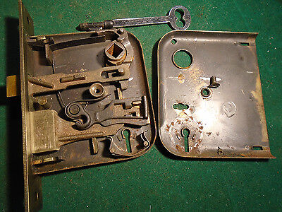 VINTAGE CORBIN MORTISE LOCK w/ KEY - RECONDITIONED - WORKS GREAT!   (4655)