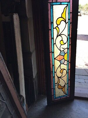 Sg 1209 Antique Stainglass Transom Window 14 X 46.5