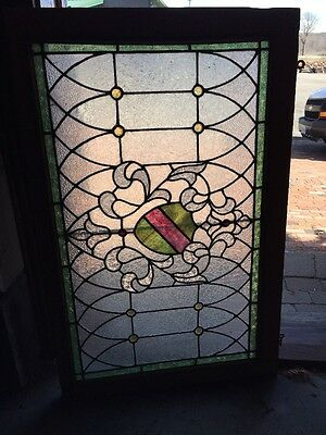 Rk 19 Antique Stainglass Textured Glass Transom Window 26 X 40.5