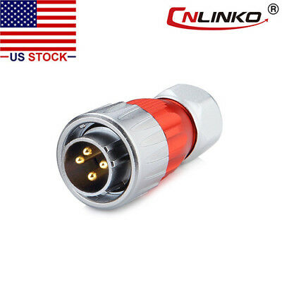 4 Pin Power Circular Connector Male Plug Outdoor Waterproof IP67 Metal Tough