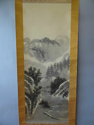 """Japanese hanging scroll Handpainted on SILK  """"Sansui-zu""""  with wooden box"""