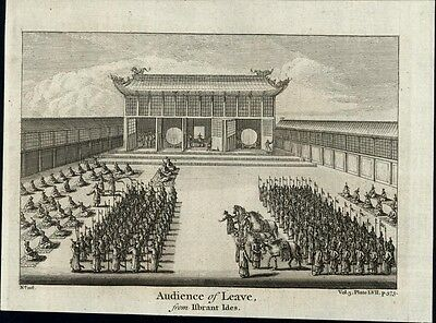 Chinese Temple Audience of Leave Nieuhof 1747 fine antique China print