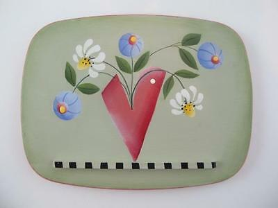 Gary Longaberger Signed Hand Painted Flowers Autographed Recipe Basket Lid Top