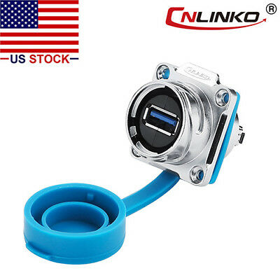 CNLINKO USB 3.0 Panel Mount Connector Female Socket Waterproof IP67 Data + Power