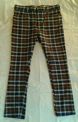 VTG 60'S 70'S PLAID PANTS - COTTON WOOL BLEND - MOD - custom tapered 36X29