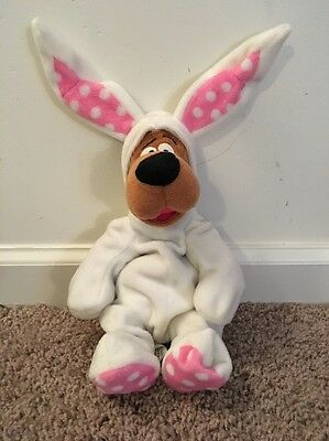 "Warner Brothers Studio Scooby-Doo Easter Bunny Bean Bag Stuffed Plush 10"" 1999"