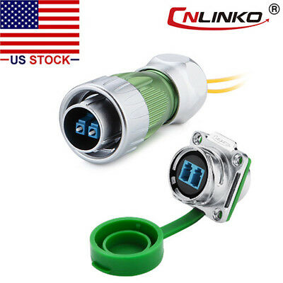 Fiber Optic Connector Plug & Socket Waterproof w/10ft Cable Single Mode LC