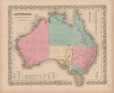 Australia Vintage Map Colton 1856 Original