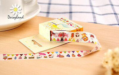 Birthday flags candle cake lion Washi paper Masking Tape sticker kid dairy Decal