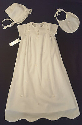 NWT Fantaisie Ivory Smocked Embroidered Christening Gown Bib Bonnet 3 Months NEW