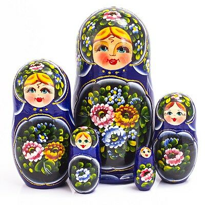 Nesting Dolls Matryoshka Made in Russia 7'' Hand Painted Blue Russian Doll