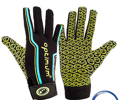 Optimum Velocity Full Finger Glove Black Blue Yellow