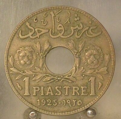 1925 Lebanon Copper/Nickel 1 piastre, French Mandate, World Coin