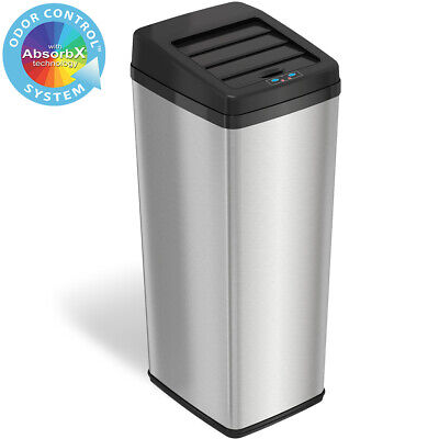 New 14 Gallon Steel Automatic Sensor Touchless Trash Can Kitchen home