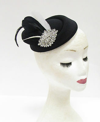 Black White Silver Feather Pillbox Hat Headpiece Hair Fascinator Vtg Races 2230
