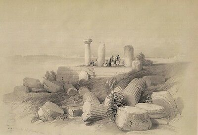 ROBERTS RA ORIGINAL PRINT OF: RUINS of EL HAMED from THE HOLY LAND 1849