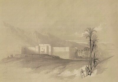DAVID ROBERTS RA ORIGINAL PRINT OF: FORTRESS of AKABAH from THE HOLY LAND 1849