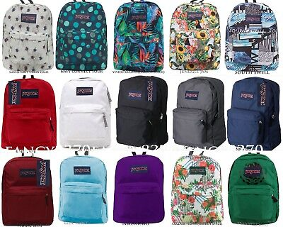 Authentic Jansport Superbreak School Backpack Black Grey Blue Red Purple White