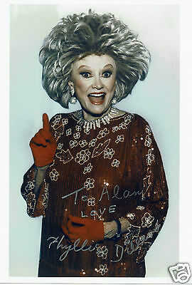 Phyllis Diller Actress and Comedian  Hand Signed  Photograph 10 x 8