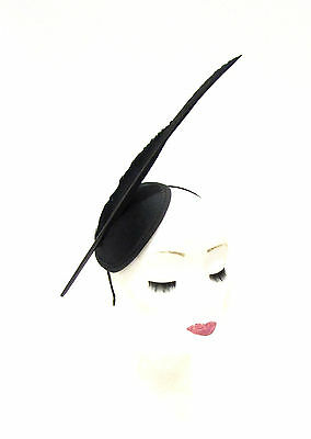 Black Statement Feather Fascinator Pillbox Headband Races Hat Headpiece 2239