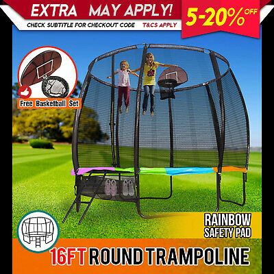16FT Round Spring Trampoline with Rainbow Spring Pad and Basketball Kit