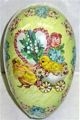 """Vintage Paper Mache Easter Egg (4.5x3"""") CHARIOT CHICKS Sealed MINT Made Germany"""