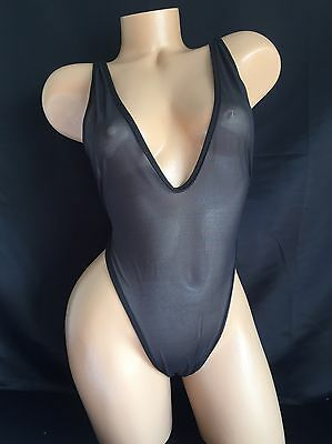 Exotic Dancer Stripper Black Mesh Strappy Thong Romper Dancewear